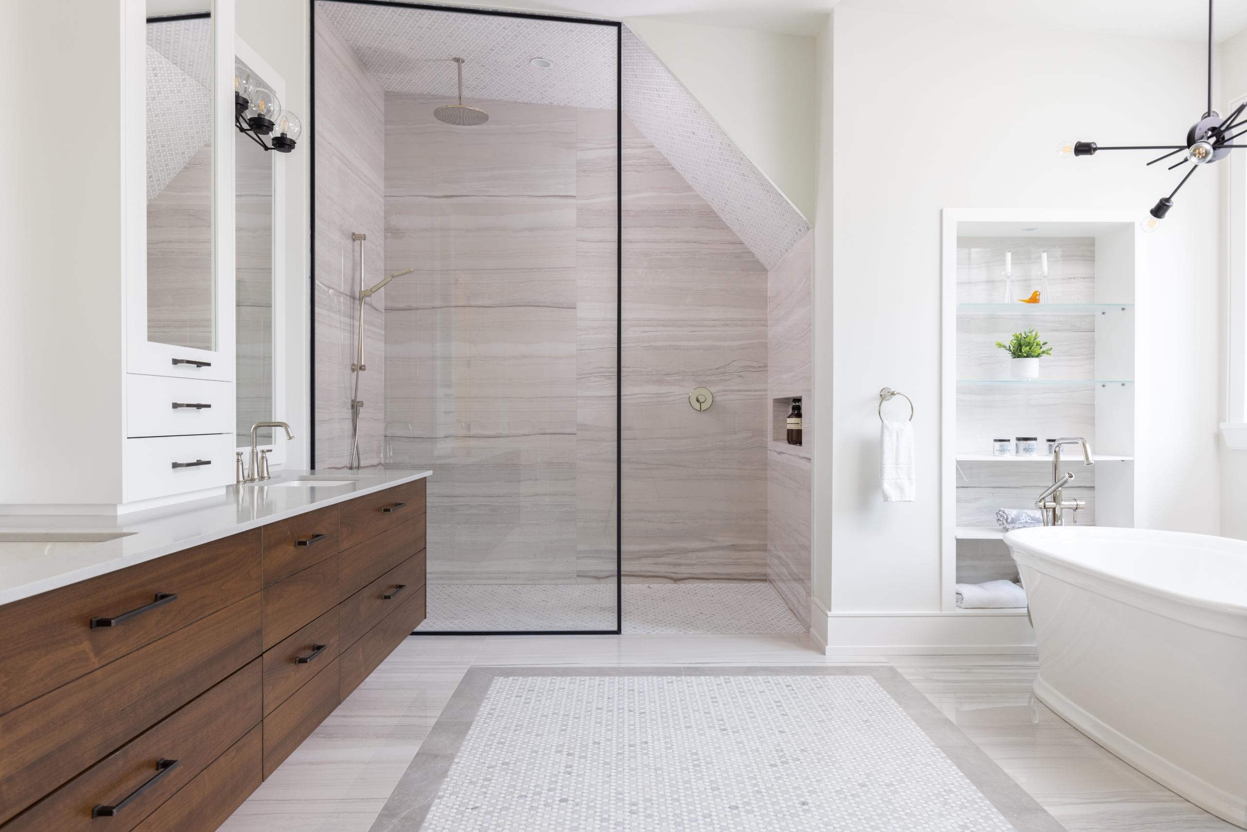 Bathroom featured at 489 Lakeshore Road W, Oakville at Alex Irish & Associates